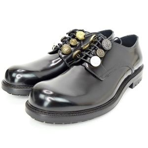 DOLCE & GABBANA Black Leather Derby Shoes Buttons